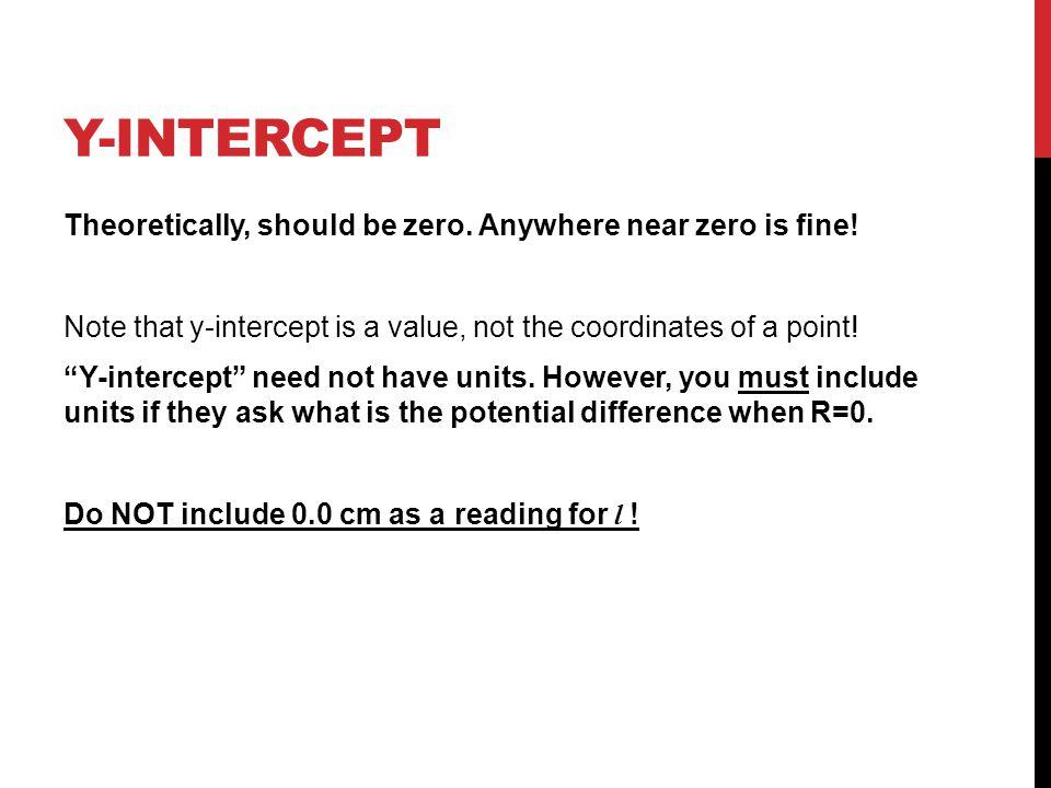 Y-INTERCEPT Theoretically, should be zero. Anywhere near zero is fine.