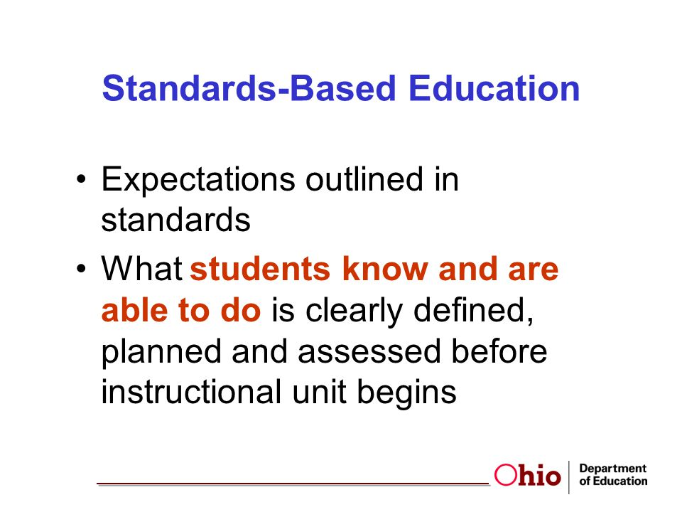 Standards-Based Education Expectations outlined in standards What students know and are able to do is clearly defined, planned and assessed before ins