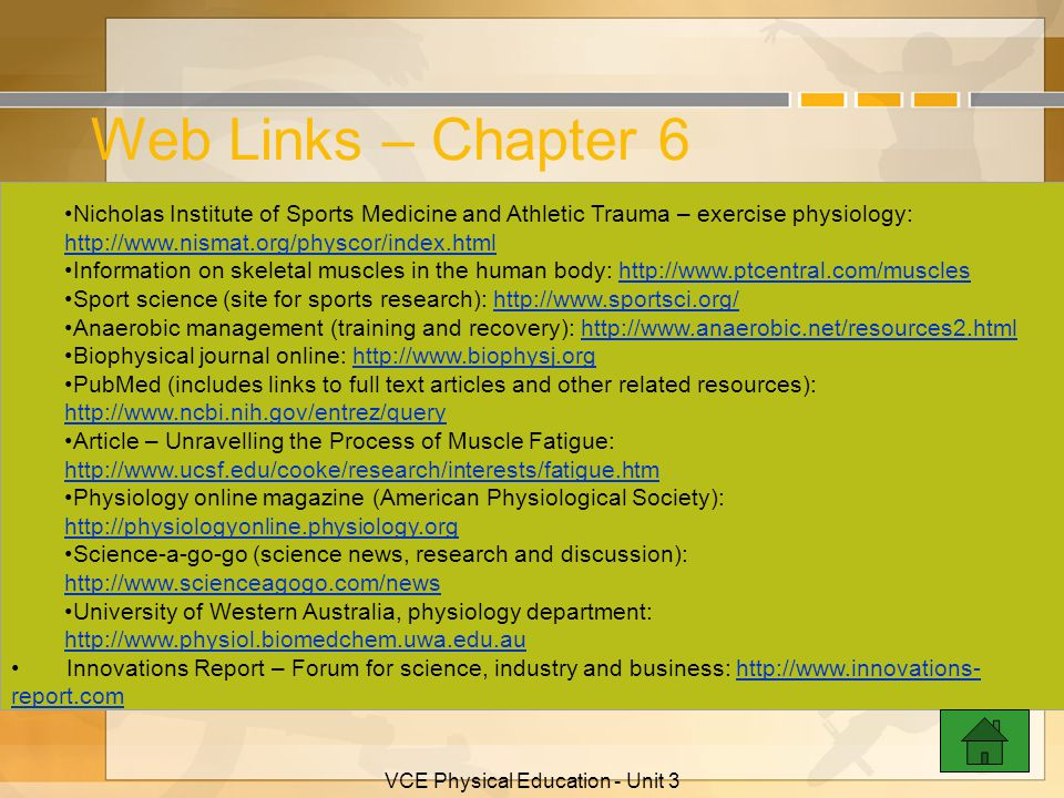 VCE Physical Education - Unit 3 Web Links – Chapter 6 Australian Sports Commission: http://www.ausport.gov.au http://www.ausport.gov.au Find 30 promot