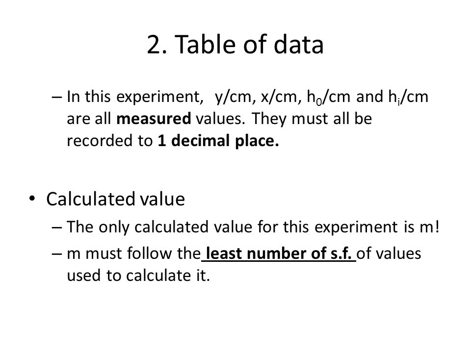 2. Table of data – In this experiment, y/cm, x/cm, h 0 /cm and h i /cm are all measured values. They must all be recorded to 1 decimal place. Calculat