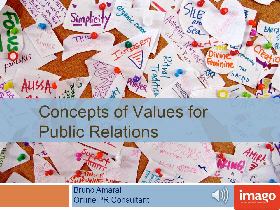 Concepts of Values for Public Relations Bruno Amaral Online PR Consultant