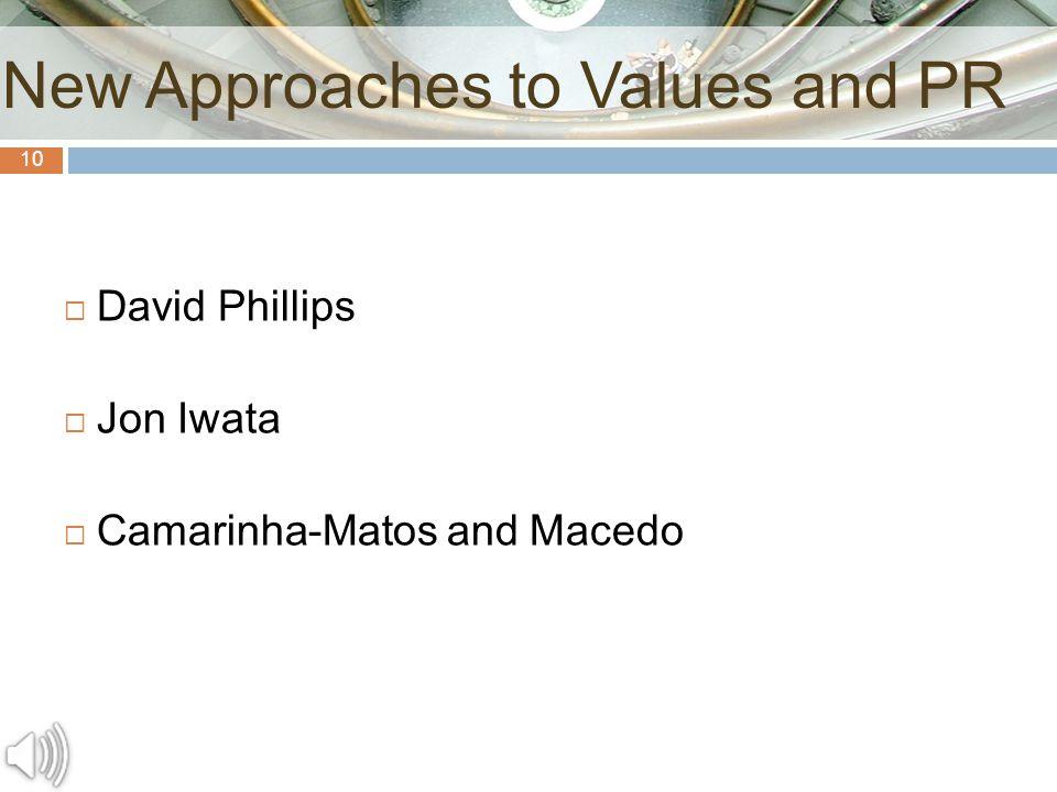10  David Phillips  Jon Iwata  Camarinha-Matos and Macedo New Approaches to Values and PR