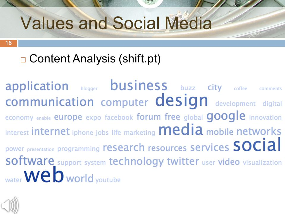 16 Values and Social Media  Content Analysis (shift.pt)