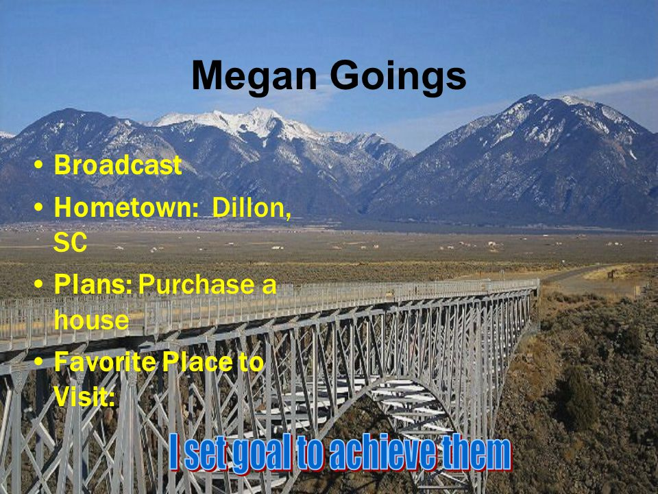 Megan Goings Broadcast Hometown: Dillon, SC Plans: Purchase a house Favorite Place to Visit: