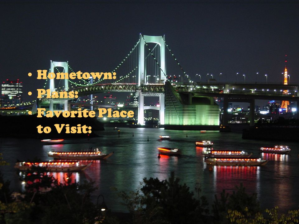 Hometown: Plans: Favorite Place to Visit:
