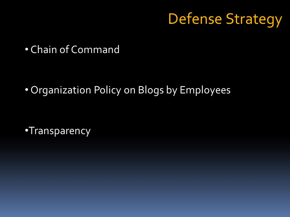 Defense Strategy Chain of Command Organization Policy on Blogs by Employees Transparency