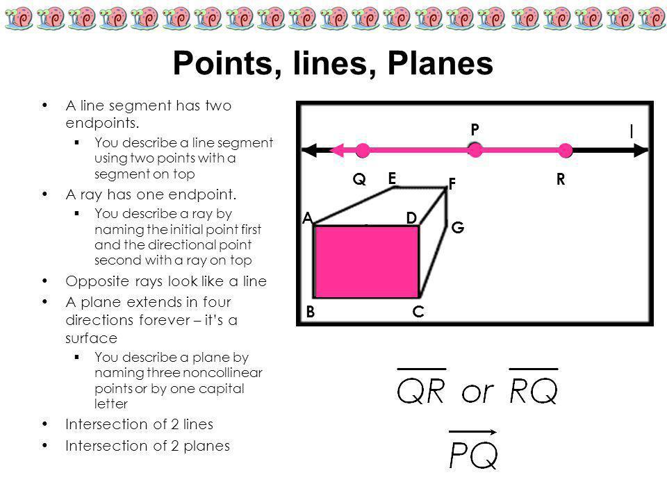 A line segment has two endpoints. YYou describe a line segment using two points with a segment on top A ray has one endpoint. YYou describe a ray