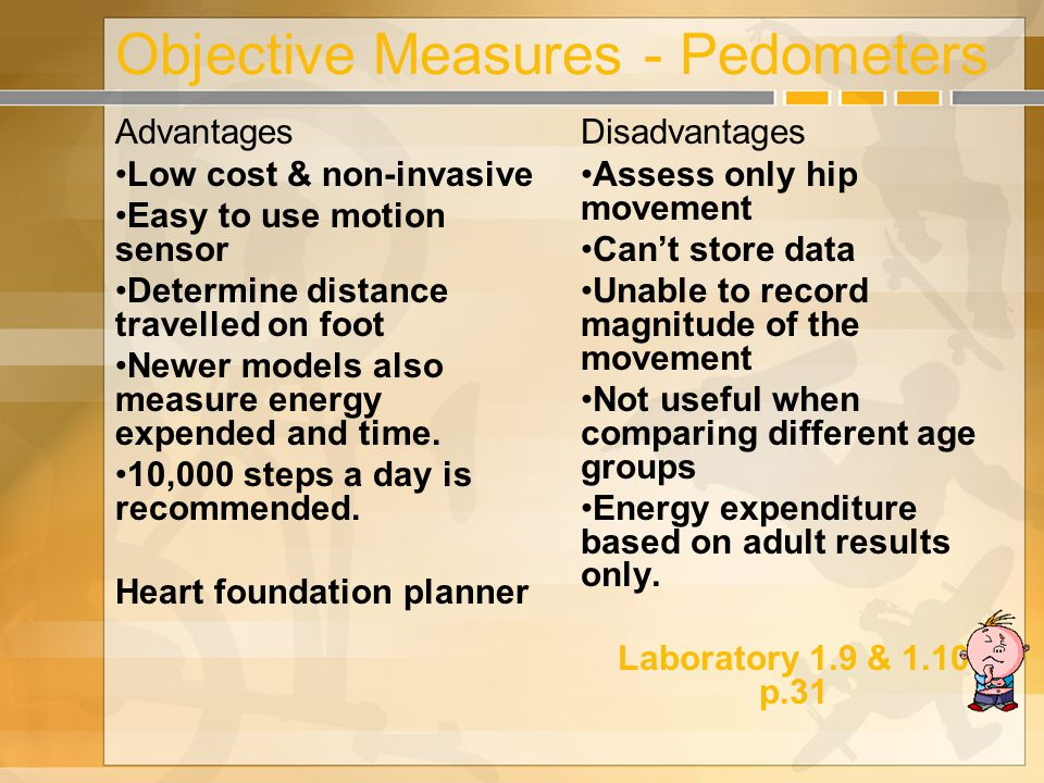 Objective Measures - Pedometers Advantages Low cost & non-invasive Easy to use motion sensor Determine distance travelled on foot Newer models also measure energy expended and time.