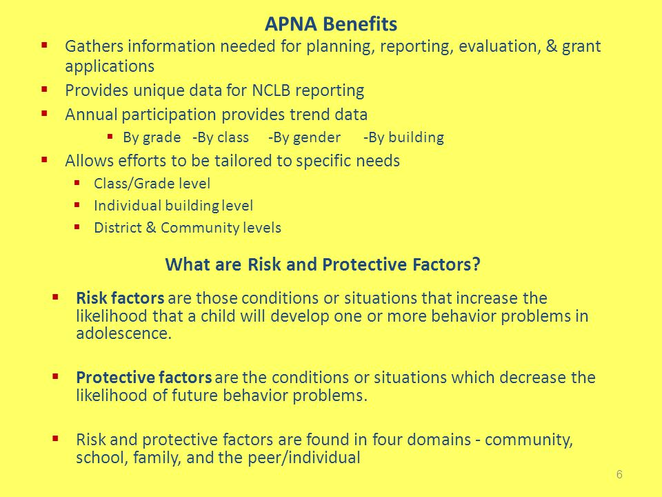 APNA Benefits  Gathers information needed for planning, reporting, evaluation, & grant applications  Provides unique data for NCLB reporting  Annual participation provides trend data  By grade -By class -By gender -By building  Allows efforts to be tailored to specific needs  Class/Grade level  Individual building level  District & Community levels 6 What are Risk and Protective Factors.