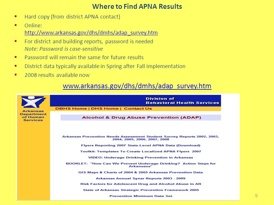 Where to Find APNA Results  Hard copy (from district APNA contact)  Online: http://www.arkansas.gov/dhs/dmhs/adap_survey.htm http://www.arkansas.gov/dhs/dmhs/adap_survey.htm  For district and building reports, password is needed Note: Password is case-sensitive  Password will remain the same for future results  District data typically available in Spring after Fall implementation  2008 results available now 9 www.arkansas.gov/dhs/dmhs/adap_survey.htm