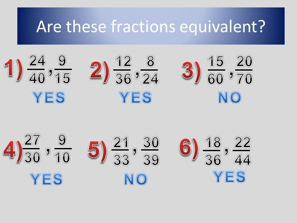 Are these fractions equivalent?
