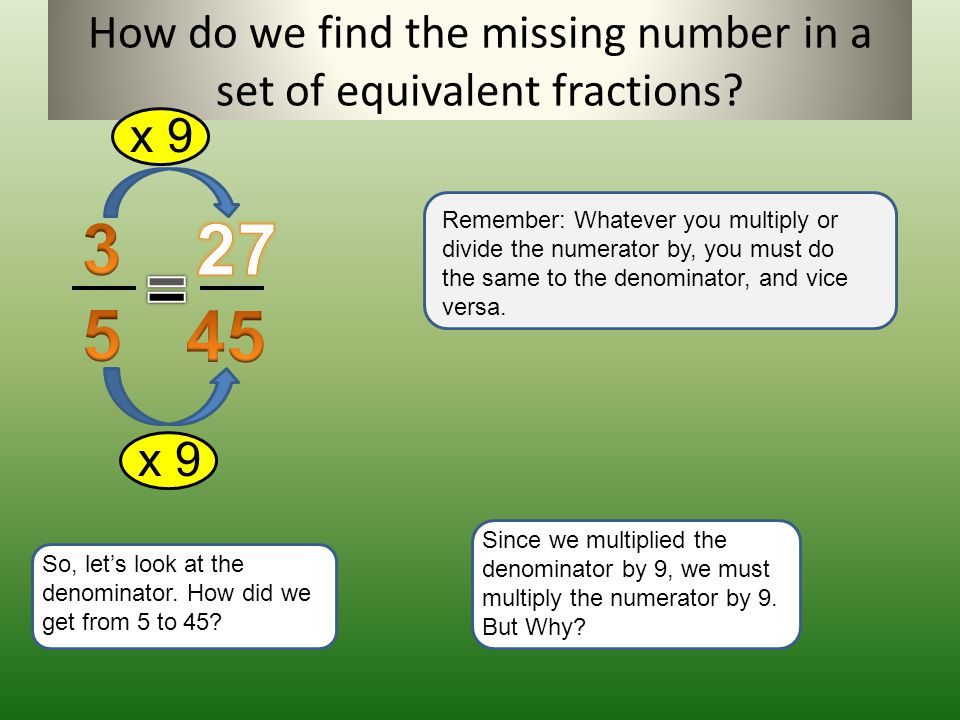 How do we find the missing number in a set of equivalent fractions? Remember: Whatever you multiply or divide the numerator by, you must do the same t