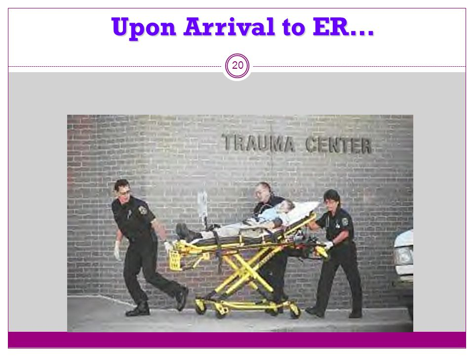 Upon Arrival to ER… 20