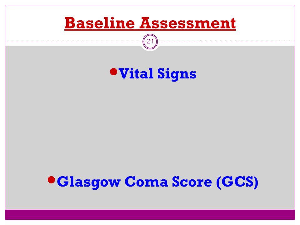 Baseline Assessment 21 Vital Signs Glasgow Coma Score (GCS)