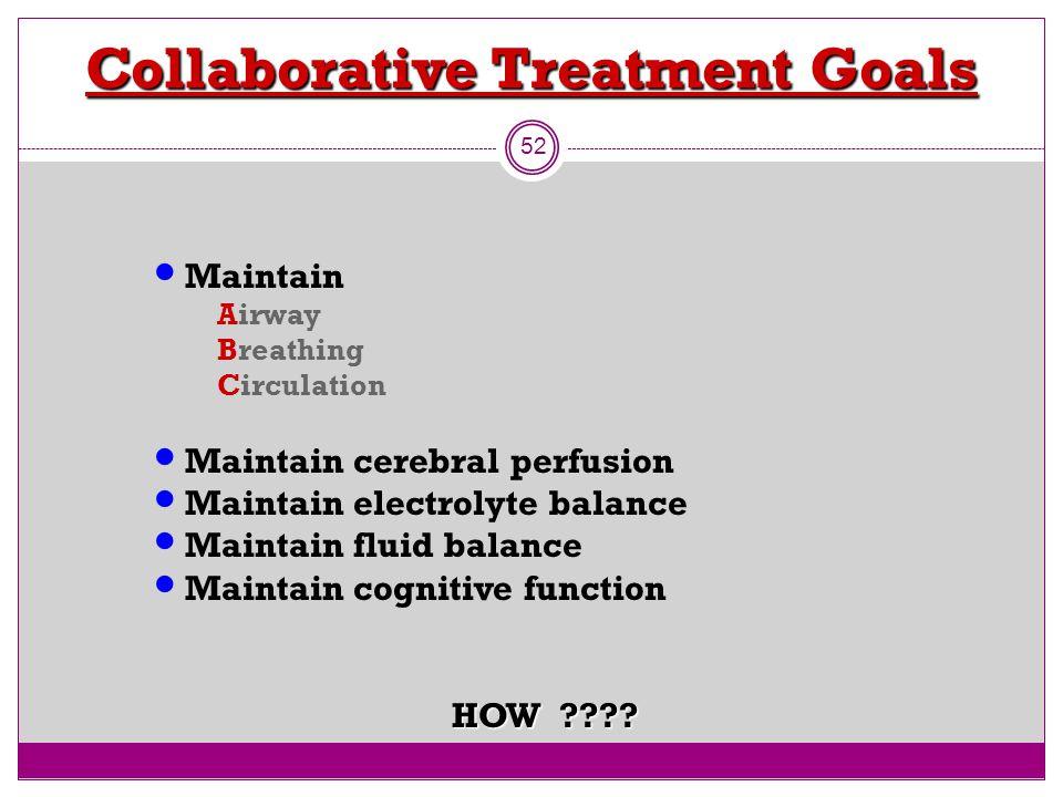 Collaborative Treatment Goals 52 M aintain Airway Breathing Circulation M aintain cerebral perfusion M aintain electrolyte balance M aintain fluid bal