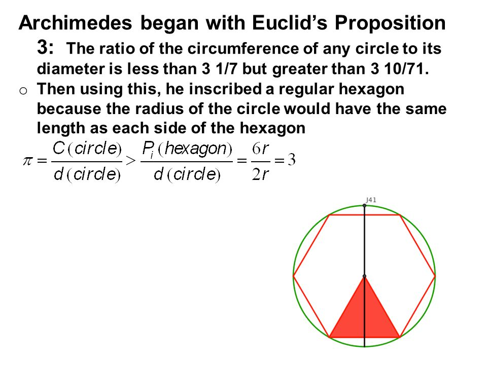 Archimedes began with Euclid's Proposition 3: The ratio of the circumference of any circle to its diameter is less than 3 1/7 but greater than 3 10/71.