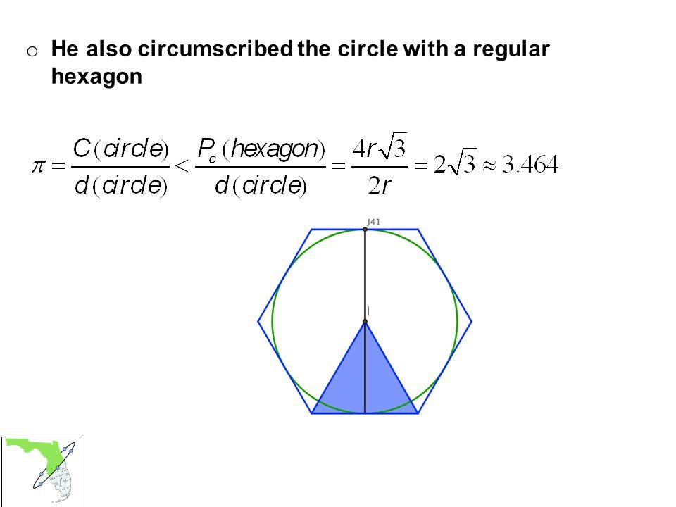 o He also circumscribed the circle with a regular hexagon