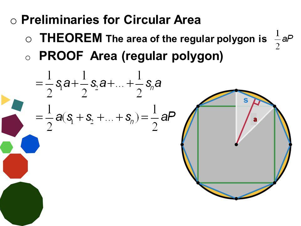 o Preliminaries for Circular Area o THEOREM The area of the regular polygon is o PROOF Area (regular polygon)