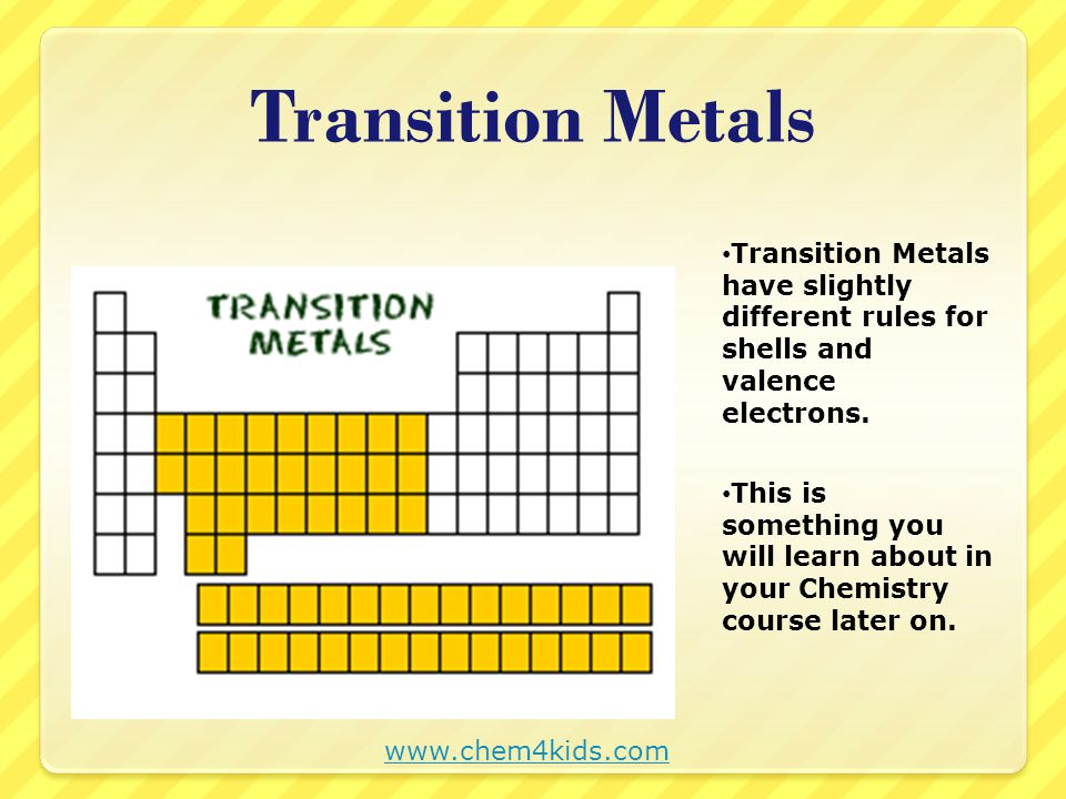 Determine the number of shells and the number of valence electrons for: www.chem4kids.com