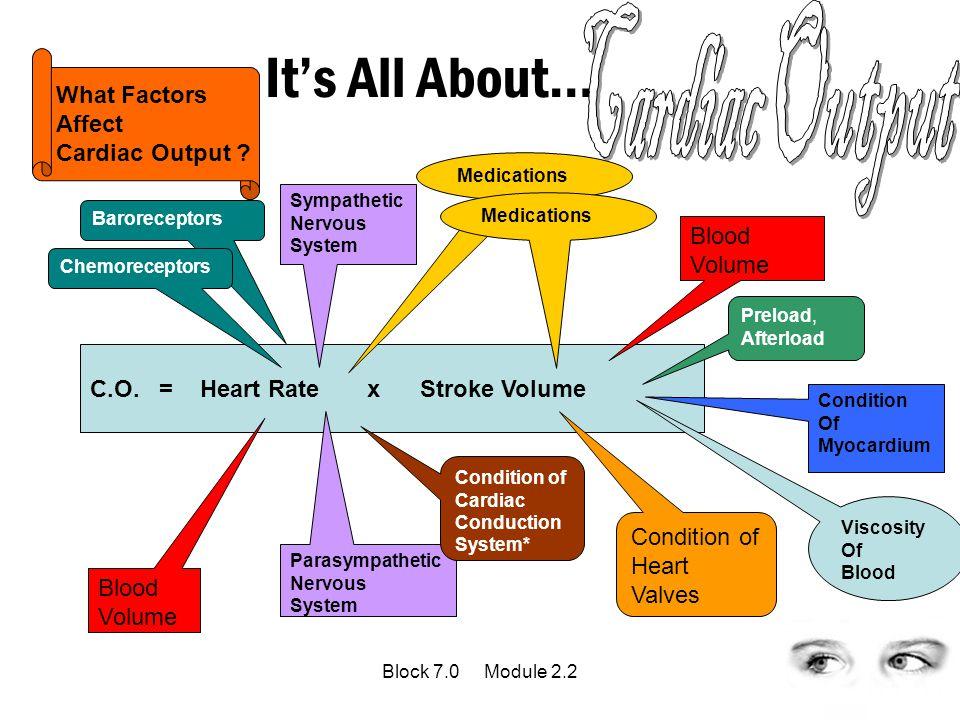 It's All About… C.O. = Heart Rate x Stroke Volume Sympathetic Nervous System Parasympathetic Nervous System Blood Volume Blood Volume Baroreceptors Ch