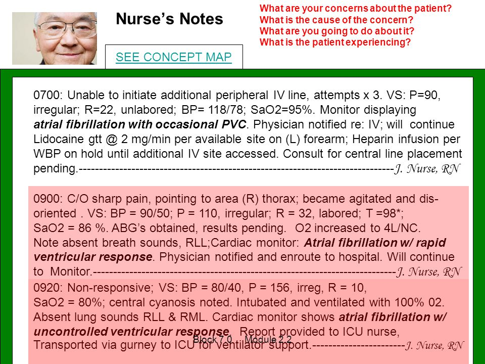 Nurse's Notes 0700: Unable to initiate additional peripheral IV line, attempts x 3. VS: P=90, irregular; R=22, unlabored; BP= 118/78; SaO2=95%. Monito