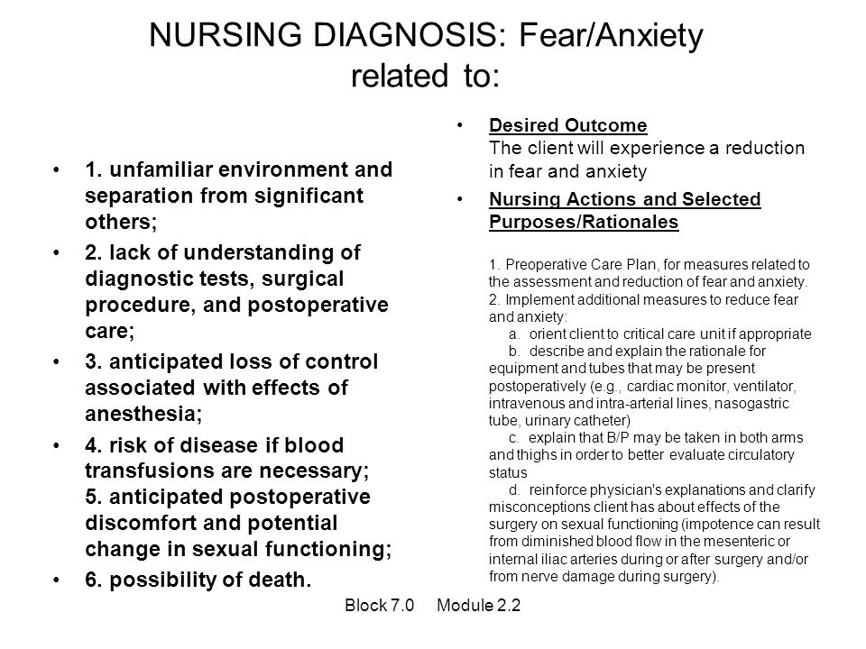NURSING DIAGNOSIS: Fear/Anxiety related to: 1. unfamiliar environment and separation from significant others; 2. lack of understanding of diagnostic t