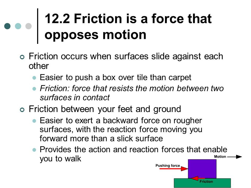 12.2 Friction is a force that opposes motion Friction occurs when surfaces slide against each other Easier to push a box over tile than carpet Frictio