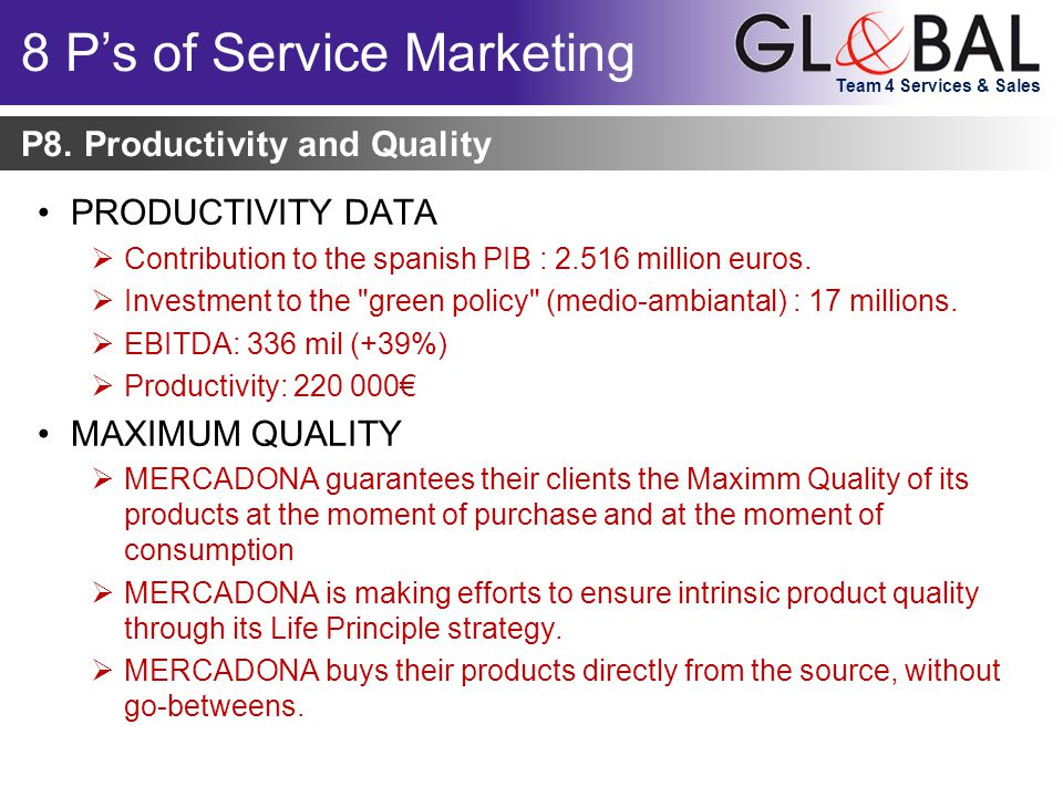 Team 4 Services & Sales PRODUCTIVITY DATA  Contribution to the spanish PIB : 2.516 million euros.