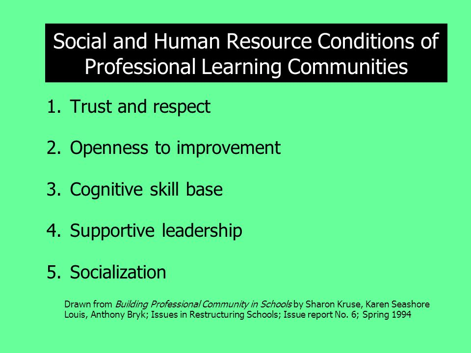 Social and Human Resource Conditions of Professional Learning Communities 1.