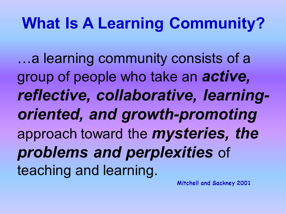 …a learning community consists of a group of people who take an active, reflective, collaborative, learning- oriented, and growth-promoting approach toward the mysteries, the problems and perplexities of teaching and learning.