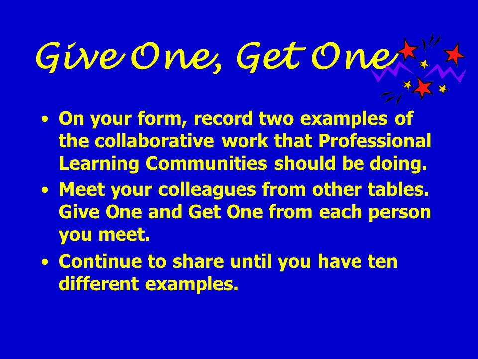 Give One, Get One On your form, record two examples of the collaborative work that Professional Learning Communities should be doing.