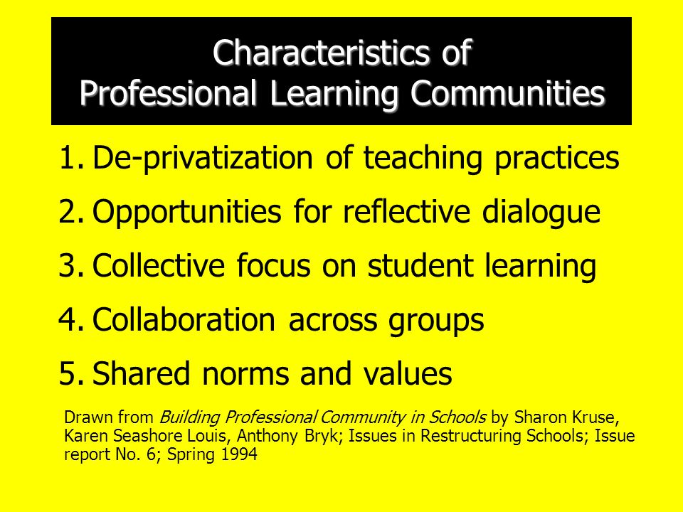 Characteristics of Professional Learning Communities 1.De-privatization of teaching practices 2.Opportunities for reflective dialogue 3.Collective focus on student learning 4.Collaboration across groups 5.Shared norms and values Drawn from Building Professional Community in Schools by Sharon Kruse, Karen Seashore Louis, Anthony Bryk; Issues in Restructuring Schools; Issue report No.