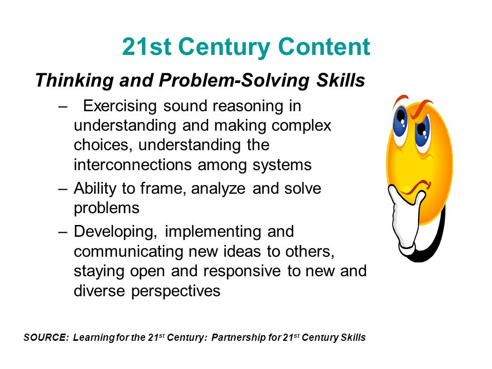 21st Century Content Thinking and Problem-Solving Skills –Exercising sound reasoning in understanding and making complex choices, understanding the in