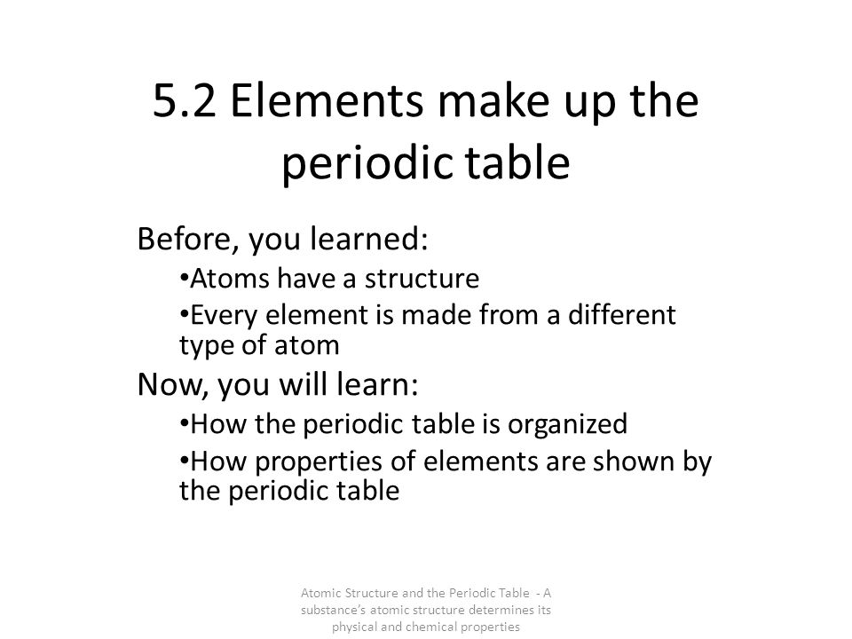 The periodic table organizes the atoms of the elements by properties and atomic number New table: elements with similar properties are now found in columns, not rows…and atoms are now arranged by atomic number, not mass How to read the periodic table.