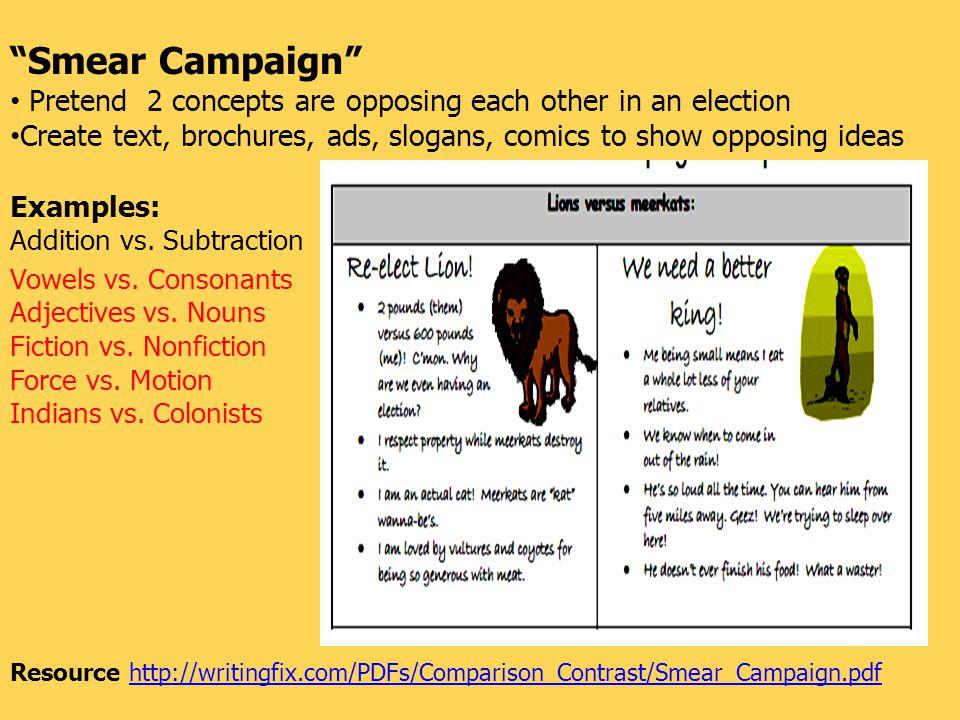 "Resource http://writingfix.com/PDFs/Comparison_Contrast/Smear_Campaign.pdfhttp://writingfix.com/PDFs/Comparison_Contrast/Smear_Campaign.pdf ""Smear Cam"