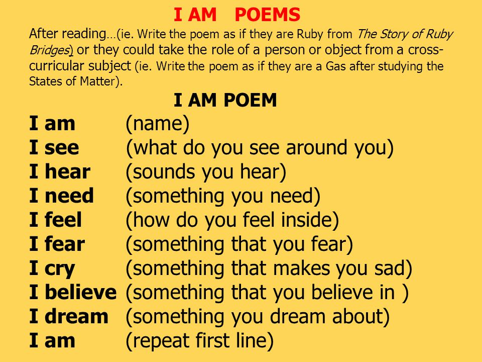 I AM POEMS After reading …(ie.