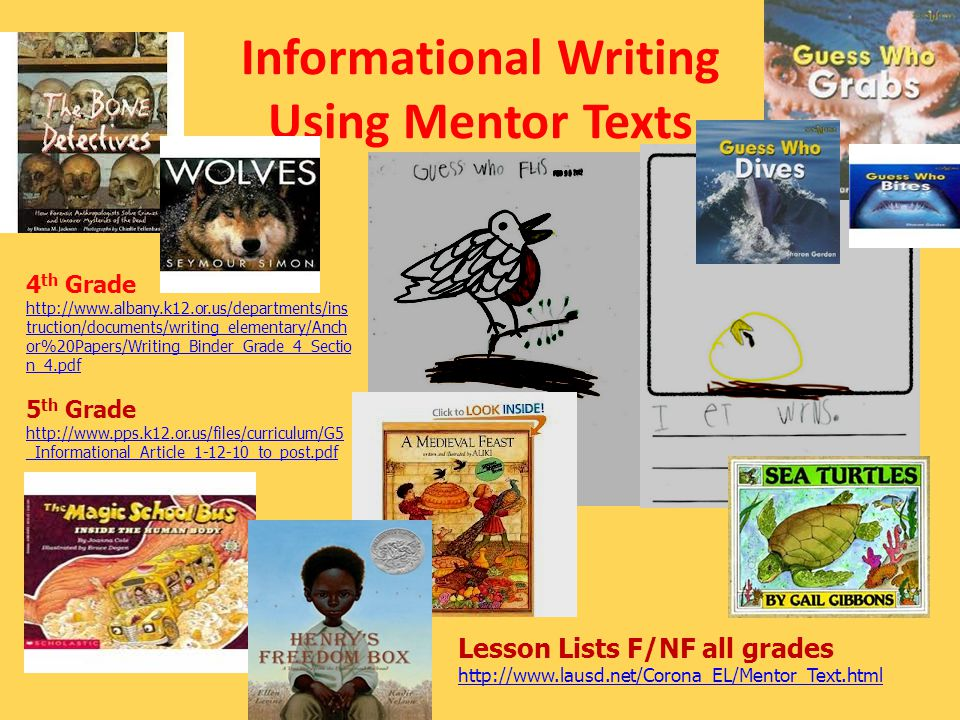 Informational Writing Using Mentor Texts Lesson Lists F/NF all grades http://www.lausd.net/Corona_EL/Mentor_Text.html 4 th Grade http://www.albany.k12.or.us/departments/ins truction/documents/writing_elementary/Anch or%20Papers/Writing_Binder_Grade_4_Sectio n_4.pdf 5 th Grade http://www.pps.k12.or.us/files/curriculum/G5 _Informational_Article_1-12-10_to_post.pdf