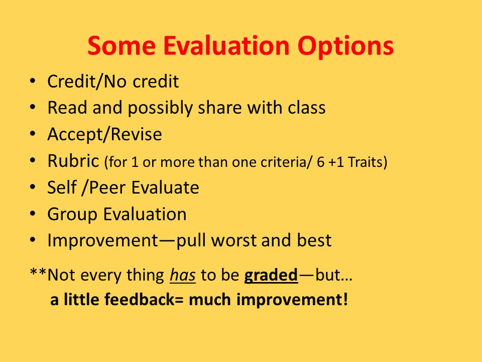 Some Evaluation Options Credit/No credit Read and possibly share with class Accept/Revise Rubric (for 1 or more than one criteria/ 6 +1 Traits) Self /Peer Evaluate Group Evaluation Improvement—pull worst and best **Not every thing has to be graded—but… a little feedback= much improvement!