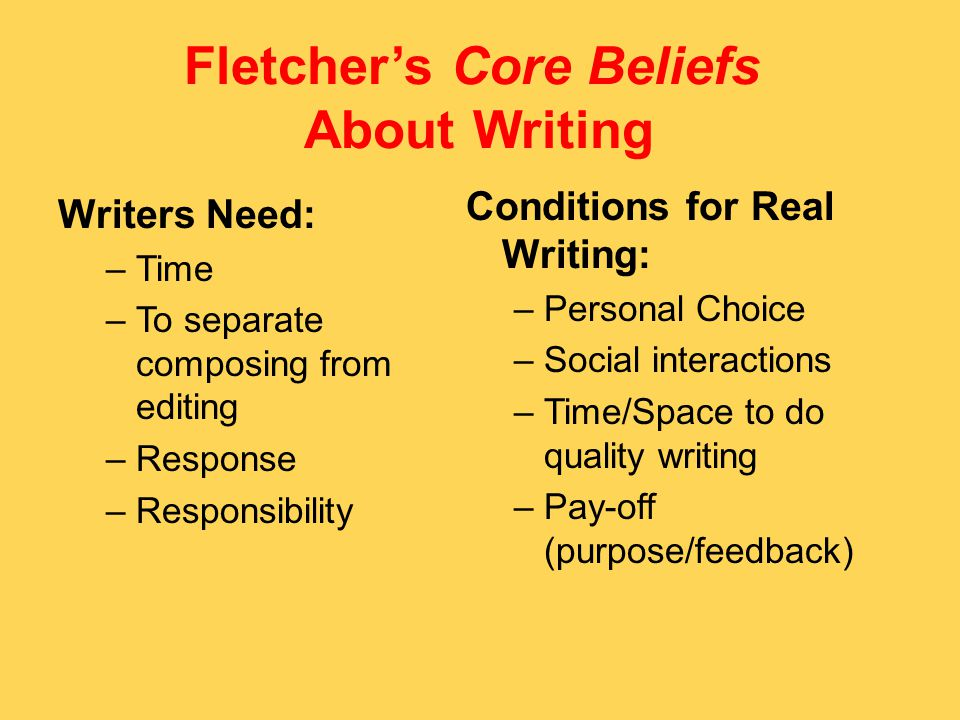 Fletcher's Core Beliefs About Writing Writers Need: –Time –To separate composing from editing –Response –Responsibility Conditions for Real Writing: –Personal Choice –Social interactions –Time/Space to do quality writing –Pay-off (purpose/feedback)