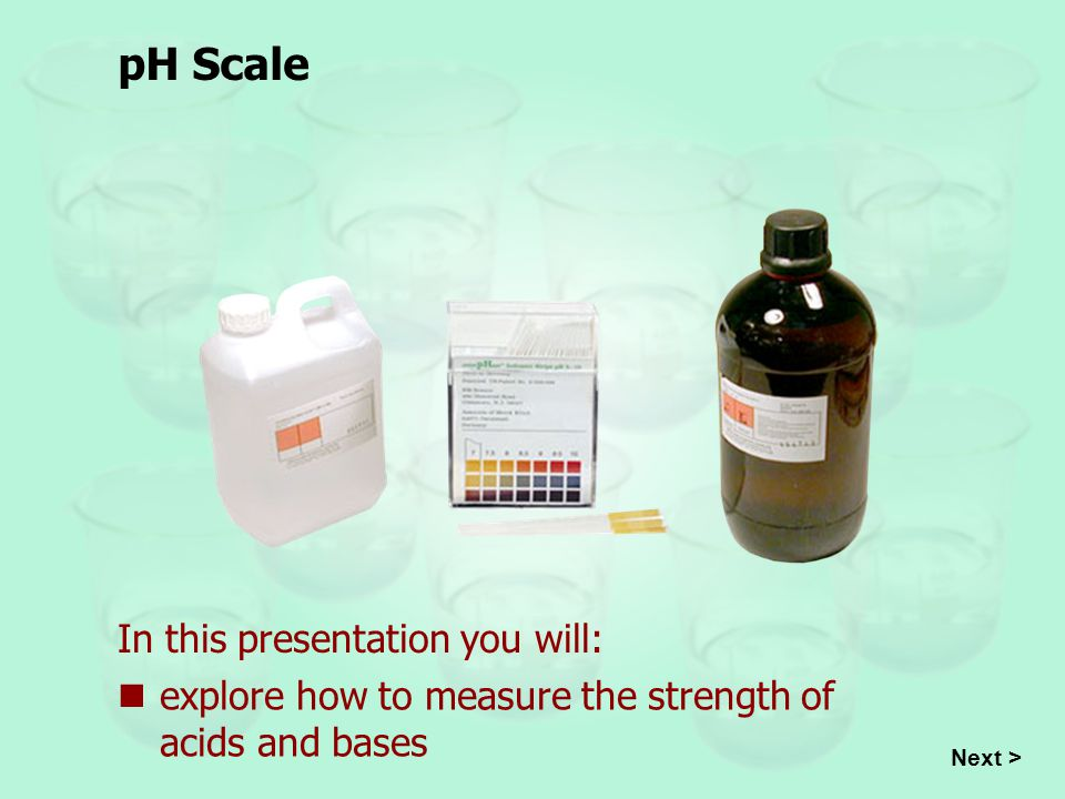 Introduction Acids and bases can be measured with the pH scale which specifies the concentration of hydrogen ions, H +, in a solution.