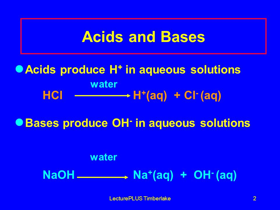 LecturePLUS Timberlake2 Acids and Bases Acids produce H + in aqueous solutions water HCl H + (aq) + Cl - (aq) Bases produce OH - in aqueous solutions water NaOH Na + (aq) + OH - (aq)