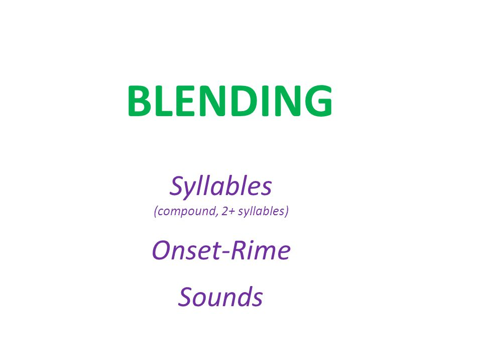 BLENDING Syllables (compound, 2+ syllables) Onset-Rime Sounds
