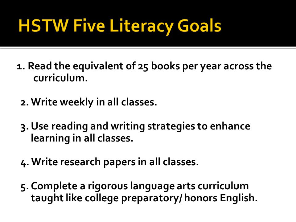  What will students know and be able to do as a result of reading across the curriculum.