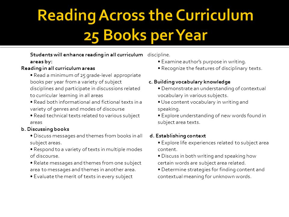 SkillsKnowledge Examine, recognize, evaluate, demonstrate, use, explore, determine, read, participate, discuss, respond, relate, 25 grade level books Variety of subject disciplines Curricular learning in all areas Messages and themes Books in all subject areas Variety of texts Multiple modes of discourse Author's purpose in writing Features of disciplinary texts Understanding of contextual vocabulary Content vocabulary Understanding of new words Writing and speaking Life experiences Strategies for finding content and contextual meaning Merit of texts