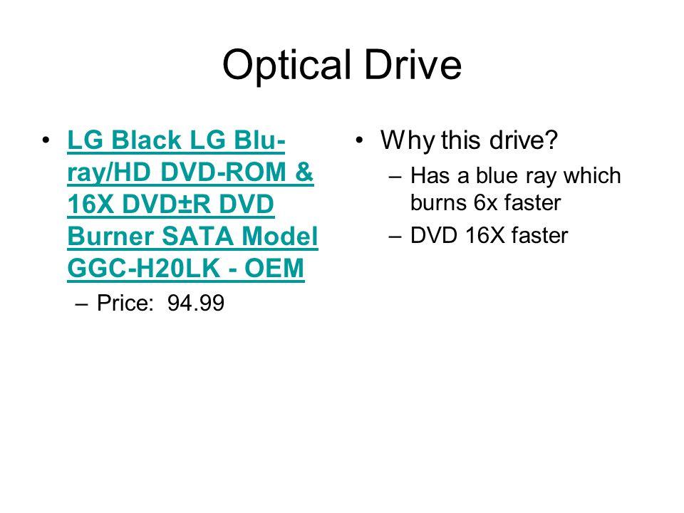 Optical Drive LG Black LG Blu- ray/HD DVD-ROM & 16X DVD±R DVD Burner SATA Model GGC-H20LK - OEMLG Black LG Blu- ray/HD DVD-ROM & 16X DVD±R DVD Burner SATA Model GGC-H20LK - OEM –Price: 94.99 Why this drive.