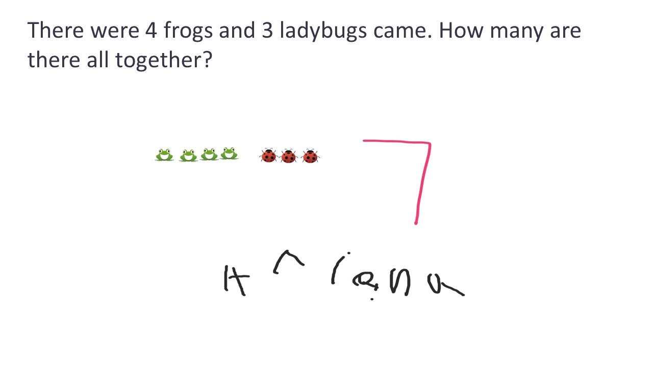 There were 4 frogs and 3 ladybugs came. How many are there all together