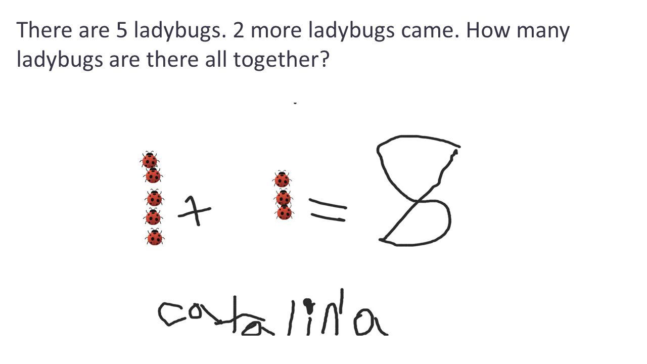 There are 5 ladybugs. 2 more ladybugs came. How many ladybugs are there all together