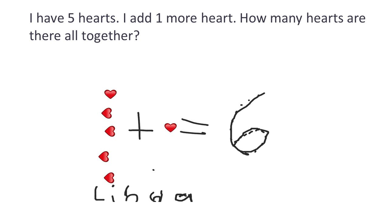 I have 5 hearts. I add 1 more heart. How many hearts are there all together