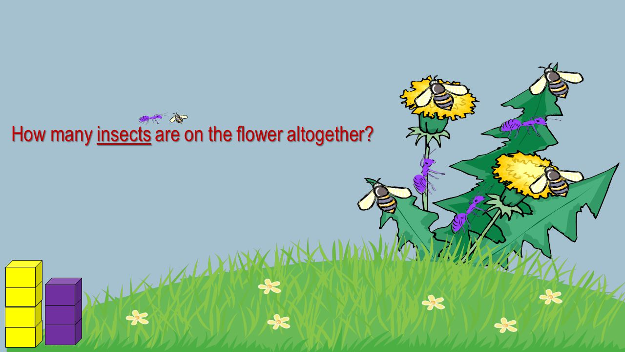 How many insects are on the flower altogether