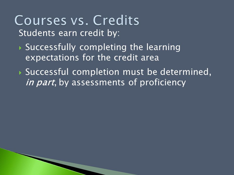 Students earn credit by:  Successfully completing the learning expectations for the credit area  Successful completion must be determined, in part,